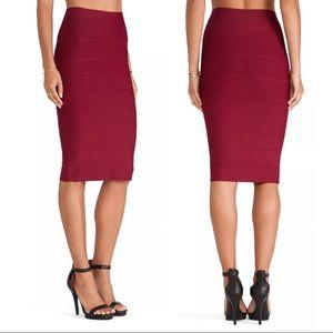 Bcbgmaxazria Bordeaux Leger Bandage Midi Skirt